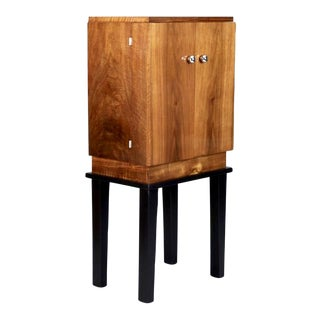 Art Deco Wooden Cabinet on Metal Stand