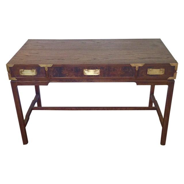 Image of Brass & Burl Wood Vintage Campaign Desk