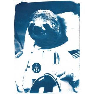 Cyanotype Print- Astronaut Sloth Meme