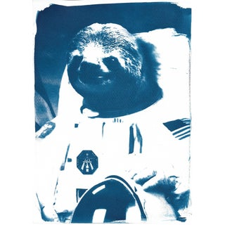 Limited Edition Cyanotype Print- Astronaut Sloth Meme