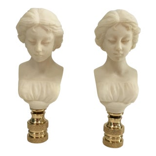 Neoclassical Bust Lamp Finials - A Pair