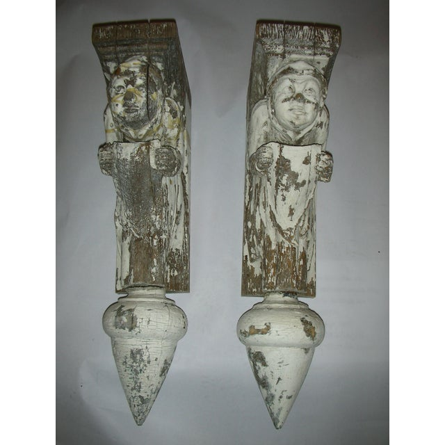 Antique Carved Oak Gargoyle Brackets - A Pair - Image 2 of 11