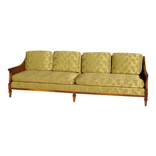 Mid-Century Double Cane & Silk Upholstered Sofa