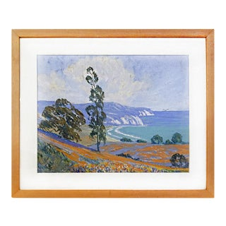 Courtney L. Miles California Coast Seascape Pastel, circa 1960
