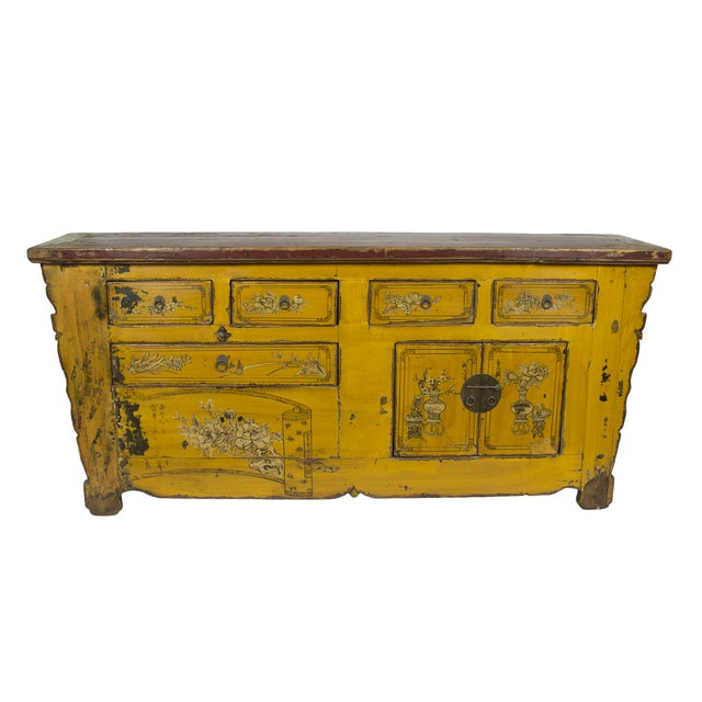 Antique Yellow Red Carved Cabinet - Image 1 of 4