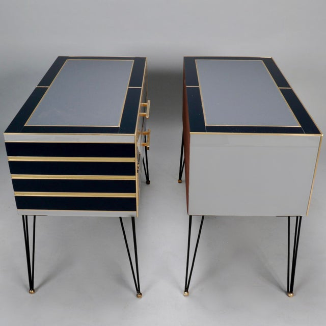 Pair of Italian Two-Drawer Cabinets with Murano Glass and Brass Inlays - Image 4 of 11