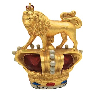 Antique Gilded Figural Lion with Crown
