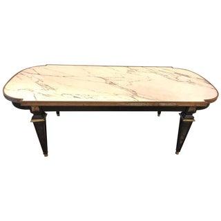 Louis XVI Style Hollywood Regency Ebonized Marble-Top Coffee Table by Jansen
