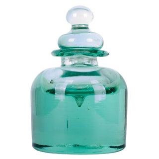 19th Century Green 'Dump' Glass Inkwell