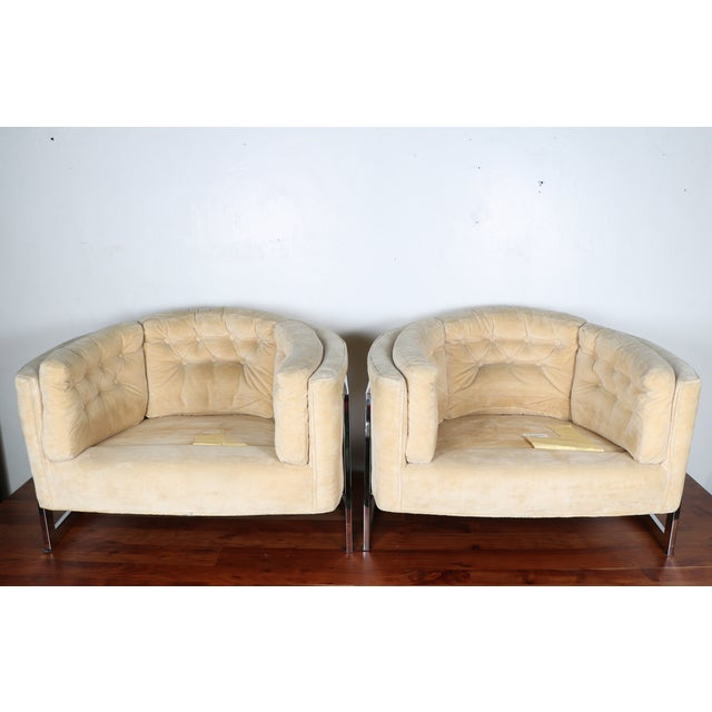 Milo Baughman Style Club Chairs - A Pair - Image 9 of 10
