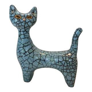 Mid-Century Modern Turquoise Blue Cat