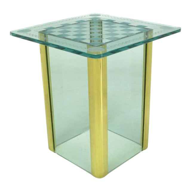 Elegant Etched Glass Game Table In The Style Of Pace Collection - Image 1 of 8