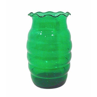 Art Deco Emerald Green Glass Vase