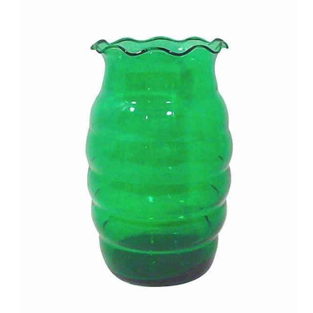Art Deco Emerald Green Glass Vase
