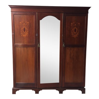 Antique Wooden Wardrobe With Beveled Mirror