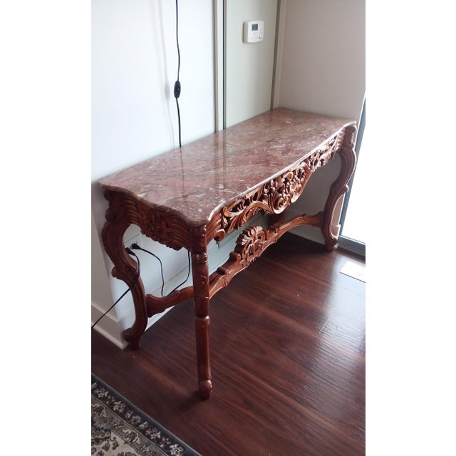 Marble Top Carved Wood Console Table - Image 4 of 5