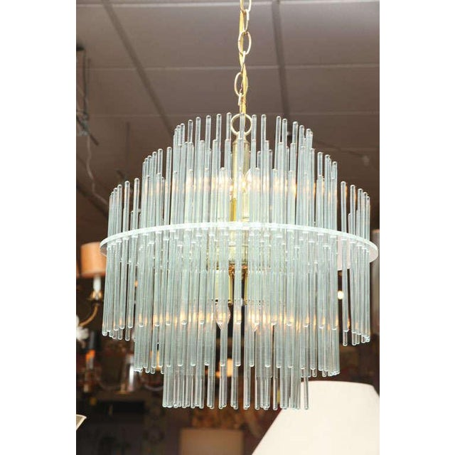 Image of Lightolier ImportTiered Glass Rod Lucite Chandelier