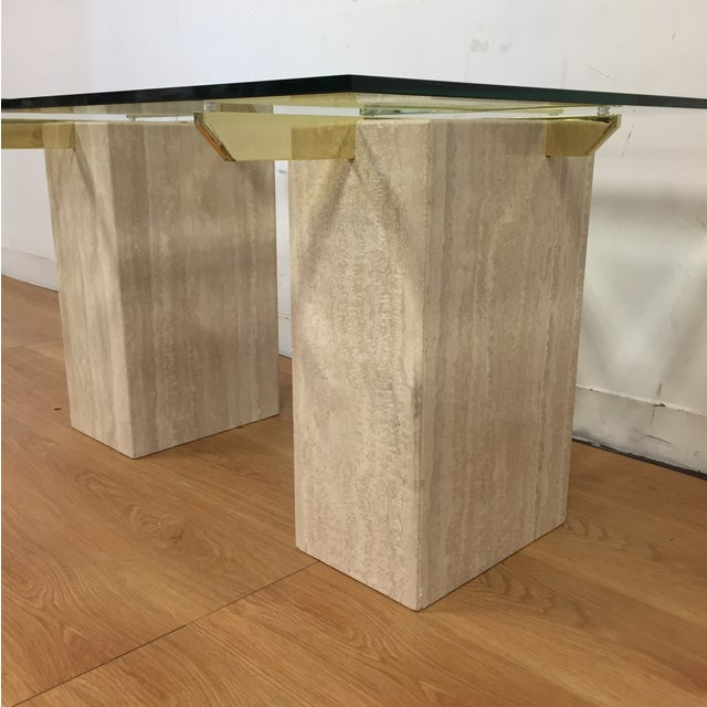 Image of Travertine Brass and Glass End Tables - A Pair