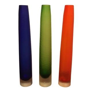 Tall Art Glass Vases - Set of 3