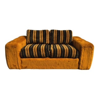 Vintage Schweiger Orange Gold Faux Fur Love Seat