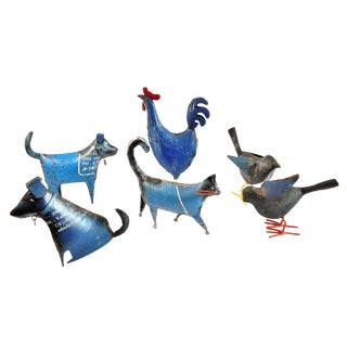 Recycled Metal Animal Sculpture Collection - Set of 6