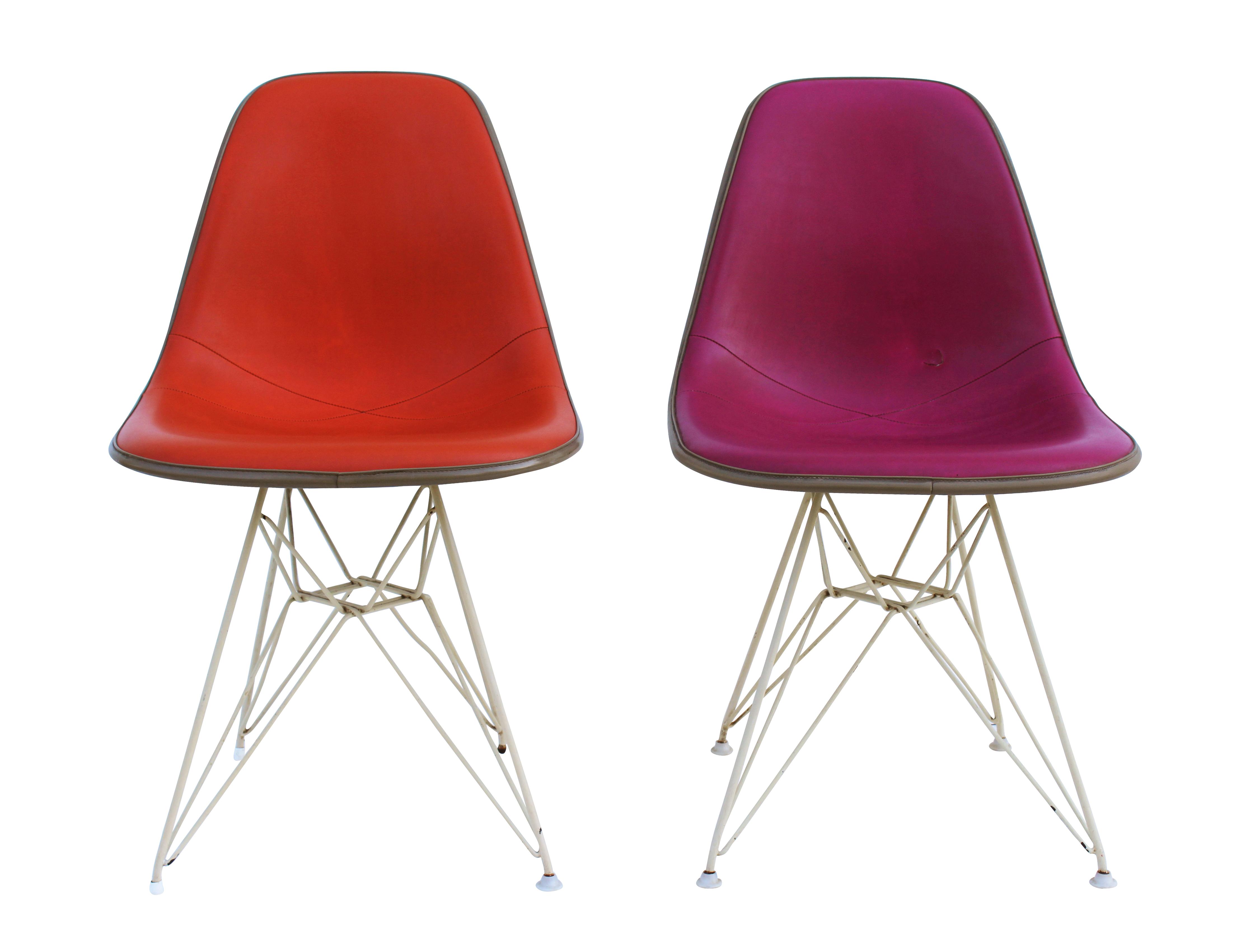 Pink U0026 Orange Eames Chairs On Eiffel Bases   Pair