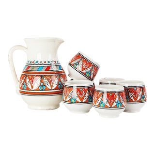 Moroccan Hand Painted Water Carafe & Cups - Set of 7
