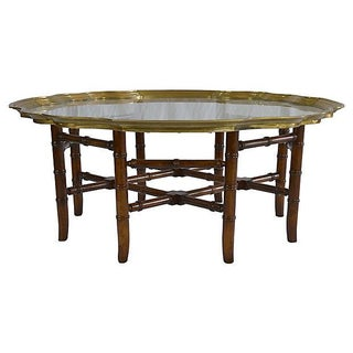 Brass Bamboo-Style Tray Coffee Table