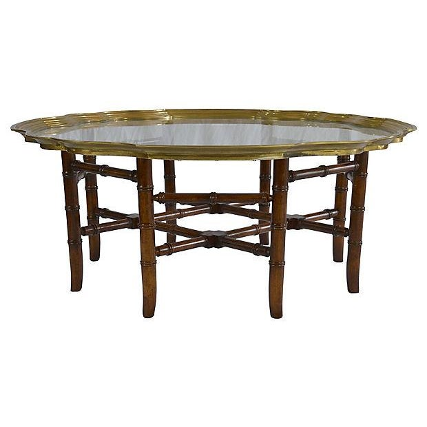 Brass Bamboo Style Tray Coffee Table Chairish