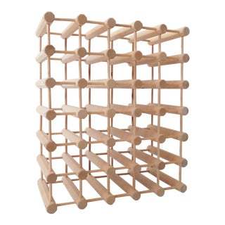 Vintage Modular Mid Century Wine Rack - Natural Wood