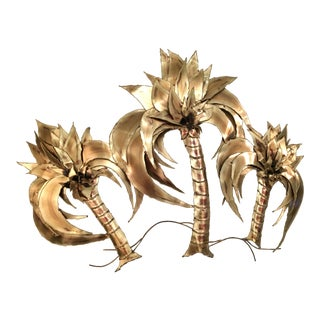 1970's Large Mixed Metal Palm Tree Wall Sculpture