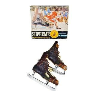 Vintage 1960's Bauer Hockey Skates Box and Skates