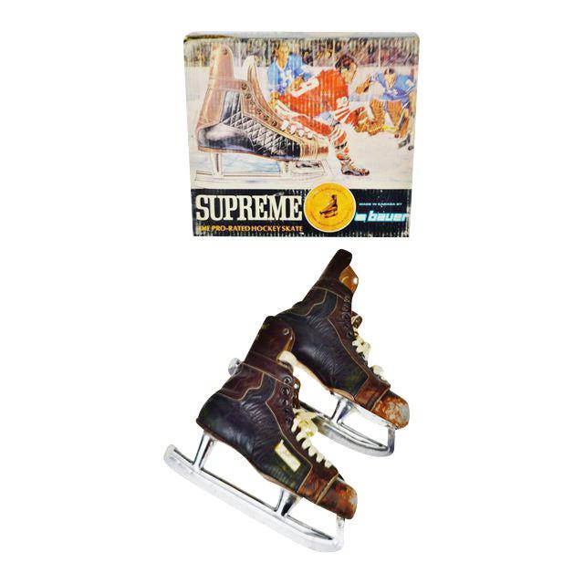 Vintage 1960's Bauer Hockey Skates Box and Skates - Image 1 of 10