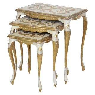Florentine Style Paint Decorated Nesting Tables - Set of 3