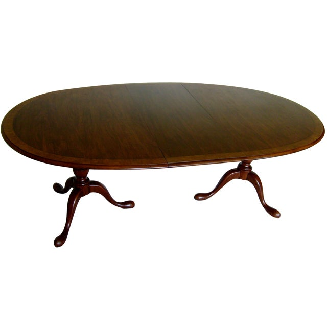 Queen Anne Double Pedestal Dining Table by Baker - Image 1 of 6