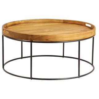 Round Wood Tray Table