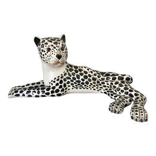 Mid-Century Italian Ceramic Snow Leopard