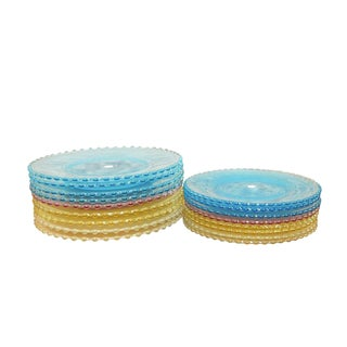 Colorful Dalzell Viking Frosted Candlewick Plate Set