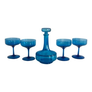 Mid-Century Belgium Blue Glass Bar Set - 5 Pieces