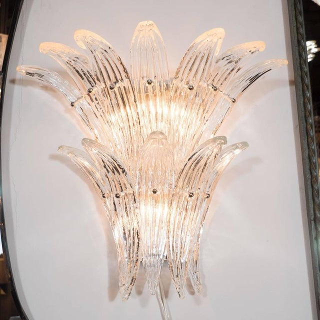 Gorgeous Pair of Mid-Century Two-Tier Palma Sconces in Clear Murano Glass - Image 2 of 6