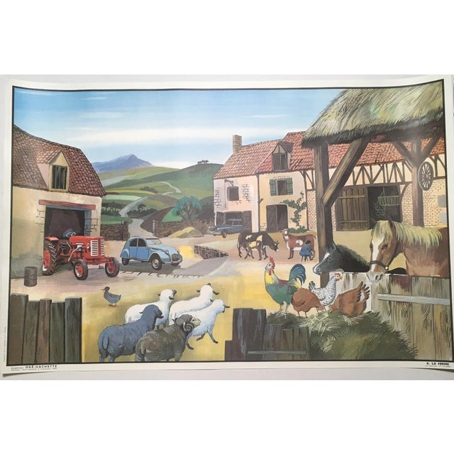 "Vintage French School Two-Sided Poster - ""La Ferme/La Gare"" - Image 2 of 3"