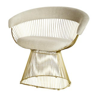 Platner Inspired Gold Accent Chairs - Pair