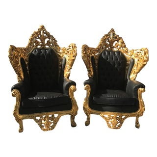 Italian Rococo Chairs in Black Leather -A Pair