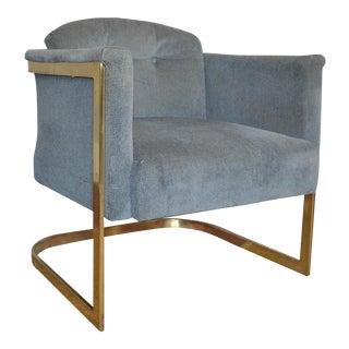 Milo Baughman Style Brass Frame Club Chair
