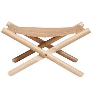 Erickson Aesthetics Solid Oak Folding X-Base Ottoman with Calf Seat