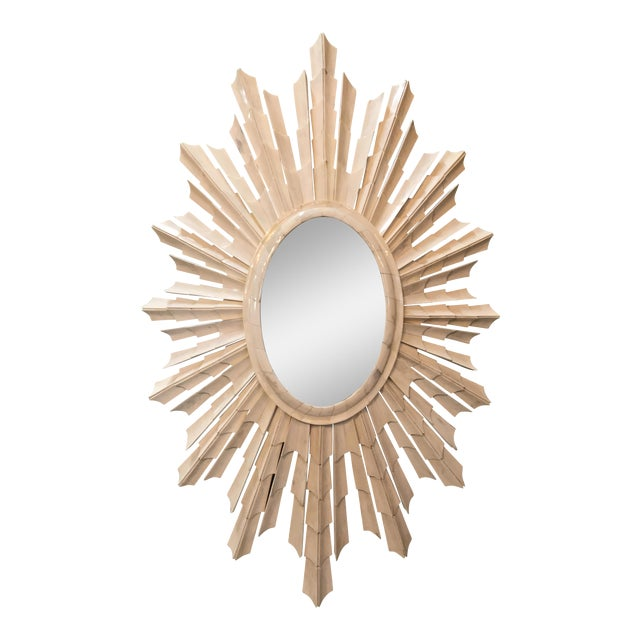 Italian Bone Sunburst Mirror with Convex Glass - Image 1 of 5