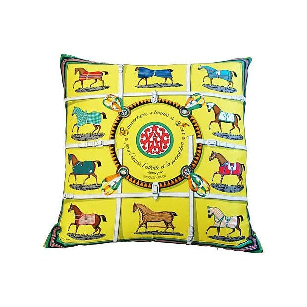 """Hermes """"Jacques Eudel"""" Equestrian Silk Pillow - Image 6 of 6"""