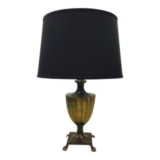 Antique Engraved Etched Table Lamp With Claw Feet
