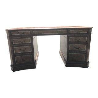 English Curved Leather Desk