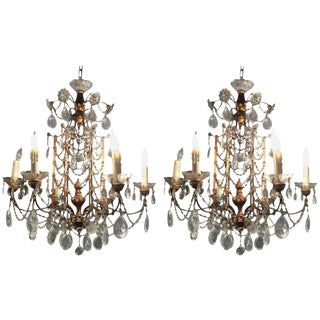 1920s Vintage Italian Crystal And Gilded Wood Chandeliers - A Pair